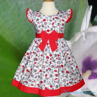 Baby Toddler Girls Dress Kids White Gream Red Flower Clothing Size 2T 3T 4T