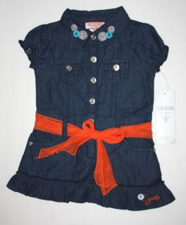 Guess Designer Baby Girl Clothes Dress Blue Jeans Red Belt 12 18 24 Months