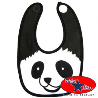 Panda Baby Bib Kids Unisex Infant Rockabilly Tattoo Punk Retro Fun Novelty Cute