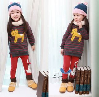 Kids Clothes Sweet Girls Bright Color Cute Cat Winter Thick Leggings AGES3 8Y