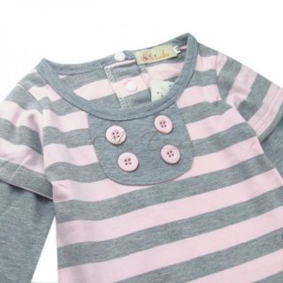 Girl Kid Long Sleeve Stripe Top Dress Casual Cotton Autumn Clothing Sz 2 3 4 5 6