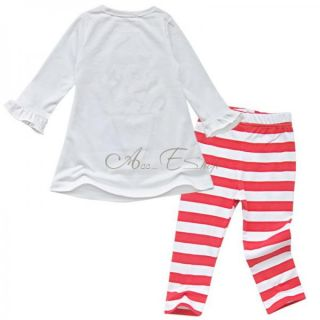 2pcs Christmas Baby Girls Outfit Top Shirt Striped Leggings Pants Set 6M 4T