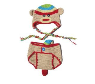 2pcs Baby Girl Boy Kids Newborn Hat Pants Crochet Monkey Outfit Set Suit Clothes