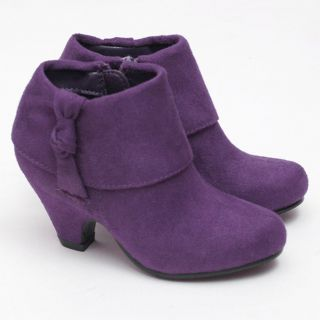 Link Purple Toddler Girl 10 Faux Suede Rolled Cuff Ankle Boot Shoe