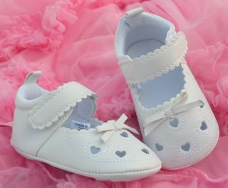 White Bow Infant Toddler Baby Girl Crib Mary Jane Sandals Shoes 2 3 4