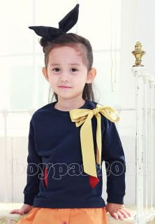 New Kids Toddlers Girls Princess Bow Long Sleeve Short Shirts Tops Age 2 7Y