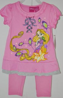 Girls Disney Princess Rapunzel Tangled Shirt Leggings Outfit Size 3T 3 Toddler