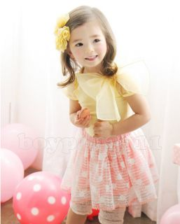 Lovely Kids Toddlers Girls Baby Tulle Bow Cotton Short Tops Shirts Ages 1 5Y