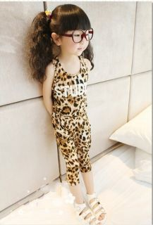 Classic Baby Boys Girls Leopard Vest T Shirt Harem Pants Kids Suits Outfits 2 3Y