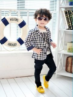 Fashion Cool Kids Boys Small Suit Korean Style Jacket Coat Formal Clothes 2 7Y