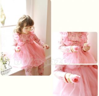 New Kids Toddlers Girls Princess Flower Long Sleeves Tulle Tutu Dress Ages 1 7Y