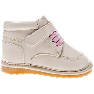 Girls Toddler Infants Childrens Leather Squeaky Ankle Boots Cream with Pink