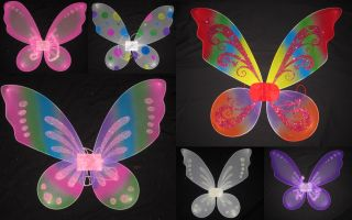 Girl Child Kid Butterfly Fairy Wings Pretend Costume Rainbow Pink Purple White