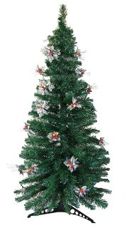 6' Pre Lit Fiber Optic Artificial Christmas Tree with Silver Holly Multi