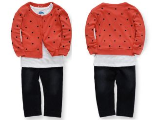 Cute 3pcs Baby Girls Long Sleeve Coat T Shirt Denim Pants Outfit Clothes 1 3Y