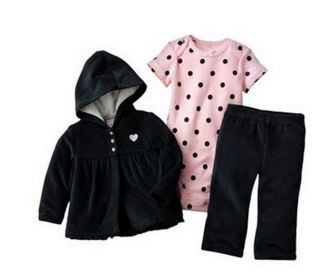 Carters Baby Girl Clothes 3 Piece Set Velour Black Pink 6M 6 Months