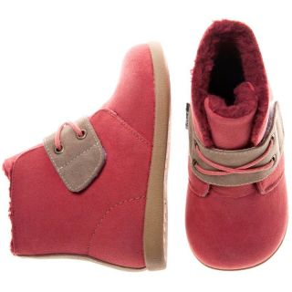 Girls Boys Toddler Childrens PU Suede Leather Boots Peach Coral Pink
