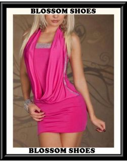 Sexy Pink Halter Rhinestones Dance Womens Club Formal Party Mini Dress AU s 8 10