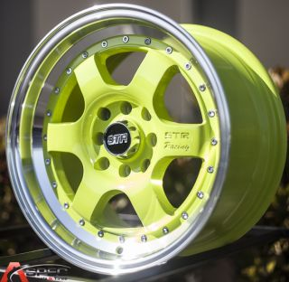 "15x8 Str 516 3"" Lip 4x100 4x114 3 25 Green Machine Lip Wheel Acura Honda Scion"