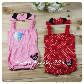 Baby Girl Minnie Mouse Polka Dots All in One Jumpsuit 2 Pcs Set Headband 3M 24M