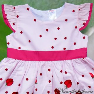 Baby Toddler Girls Dresses Kids Clothing Pink Apples Print Summer Party Size 4T