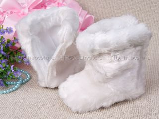 New Toddler Baby Girl Pure White Fur Boots Shoes US Size 2 4 A936