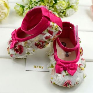 White Toddler Baby Girls Rose Bow Flower Princess Shoes 3 18 Mts Size US 2 3 4