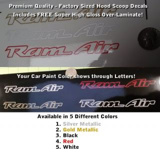Trans Am RAM Air Hood Scoop Decals Set X2 Outline Only Premium Laminated