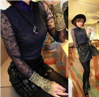 New Womens European Fashion Lace Sleeve Cuff Hollow Splicing Retro Shirt E506 TQ