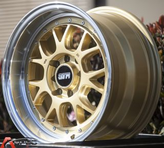 15x8 Str 502 4x100 25 Gold Wheel Fit Honda CRX Del Sol Fit Civic SI EK6 EK9 Rim