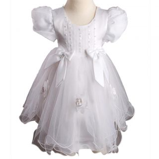 Pink White 2 Colour Baby Layer Girls Short Sleeve Baptism Pageant Party Dress