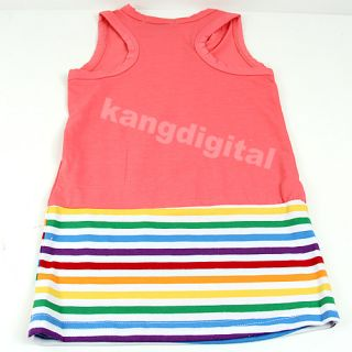 Baby Girls Kids Colorful Striped Vest Dress Skirt Sundress Summer Clothing 5Size