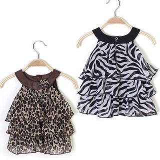 Leopard Zebra Print Baby Girls Chiffon Dress Top Clothes Outfits Newborn to 4T