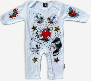 New Sailor Jerry Heart Romper Boy Girl Tattoo Swallow Rockabilly Punk Baby Pants