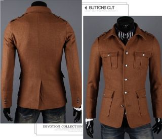 Mens Fashion Single Breasted Design Slim Jacket Wool Blend Coat 2 Color N120