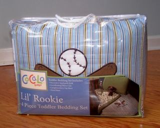 Cocalo Lil' Rookie Four Piece Toddler Bedding Set Baseball Bat Football Soccer