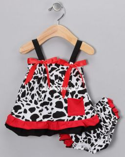 2pcs Baby Girl Infant Cow Ruffle Top Dress Shorts Bloomers Pants Outfit Clothing