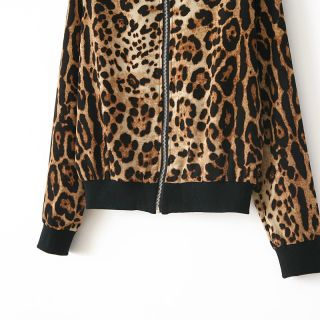 New Womens European Fashion Full Wild Leopard Print Zipper Coat Jacket B2385