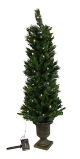 4' Pre Lit Potted Solar Powered Artificial Christmas Tree Clear LED Lights