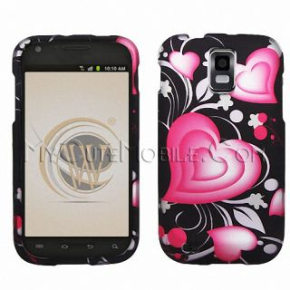 Samsung Hercules T989 Case Two Piece Lovely Heart Rubberized Coated Hard Cover