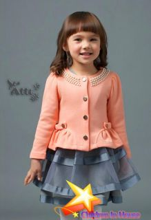 Girls Thin Pearl Coats Jackets Gown Baby Children Kids Clothing Child Clothes