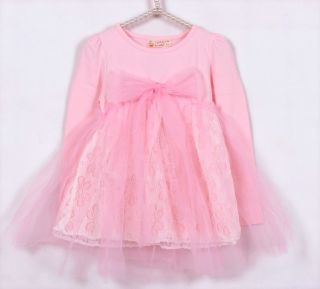 New Kids Toddlers Girls Princess Long Sleeve Cotton Tulle Top Tutu Dress Sz4 5Y