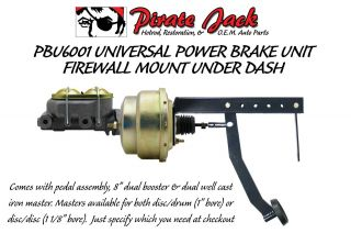 "Universal Under Dash Pedal with 8"" Dual Power Brake Booster Conversion Kit"