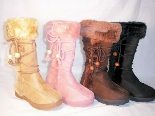 SoOoO Cute Comfy Kids Suede Faux Fur Boots