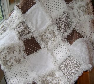Gender Neutral Baby Rag Quilt Paisley Toile Dots and Brown
