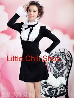 Kawaii Fashion Dolly Sweet Cute Princess Women Sleeves Lace Tie Black Dress s XL