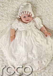 Baby Girls Cream Dress Traditional Baptism Gown Christening Dresses 0 12M
