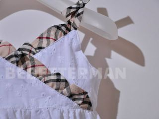 New England Check Pattern White Floral Girl Baby Clothes Vest Dress Infant 1 5yr