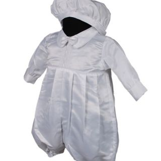 D258 3pc White Infant Toddler Boys Christening Baptism Romper Suit 0 18months