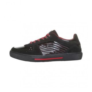 Versace Collection Men's Shoes Sneakers Suede Black Red Paint Casual MODA1 30240